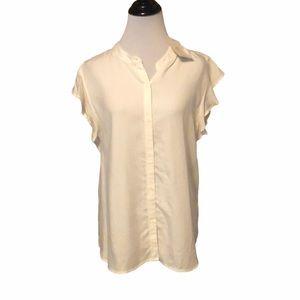 Cosmic love white ruffle sleeve blouse new!